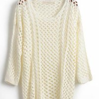 Hollow out Round Neck Beige Sweater S002409