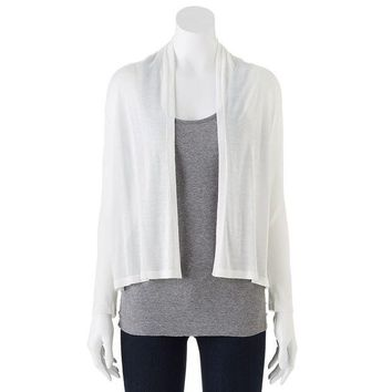DCCKX8J Dana Buchman Pieced Ribbed Open-Front Cardigan - Women's Size