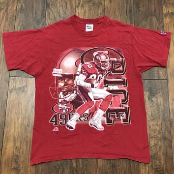 Vintage 1990s 90s Pro Player San Francisco 49ers Forty Niners #80 Jerry Rice NFL Shirt Made in USA Mens Sportswear Size Large