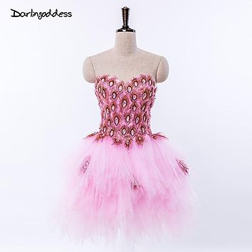 2017 Short Pink Purple Peacock Cocktail Dresses Minin Ball Gown Knee Length Tulle Homecoming Party Dresses Cheap Cocktail Dress