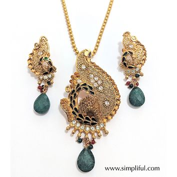 Designer Long Peacock pendant necklace and earring set