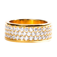 Golden trio-Row Ring With White CZ Diamonds