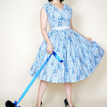 Sophie Blue Parisian Blue Poodle Print Dress