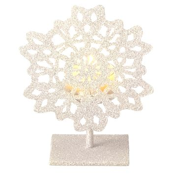 "5"" Silent Luxury Off-White Glitter Drenched Snowflake Tea Light Candle Holder"