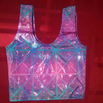 Blue/Pink Holographic Crop Top