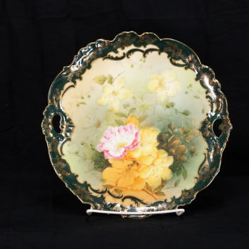 "Antique Bavarian China Germany 10 7/8"" Dark Green And Pink Rose Handled Plate"