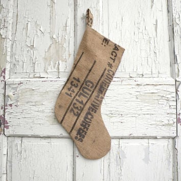 Burlap Christmas Stocking made from Recycled Coffee Bags, Rustic Modern Industrial Shabby Chic