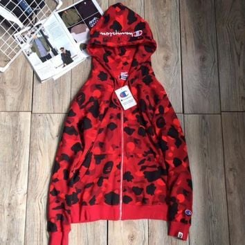 Champion camouflage Cotton cardigan hoodie Red