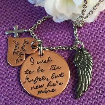 Memorial Jewelry - I used to be his angel now he's  - Memorial Necklace - Daddys girl - Sympathy gift - Remembrance Necklace - Rip