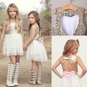 Sequins Princess Kids Baby Clothes Flower Girl Dress Bowknot Backless Party Gown Dresses