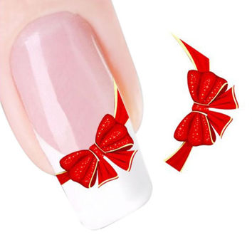 Mint  Red Bows Design Nail Tip Art Water Transfers Decal Sticker  Jul22
