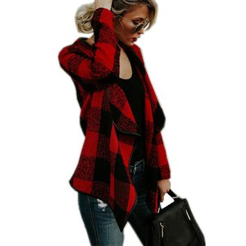 Basic Jackets For Woman Long-Sleeve Turn-Down Collar Irregular Hem Plaid Women's Work Coat Clothes