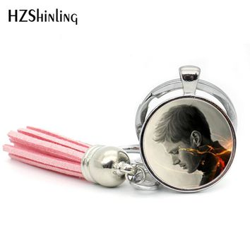 2017 Fashion Supernatural Dean Keyring Devils Trap Keychain Glass Cabochon Key chain Tassel Keychains Gifts For Men