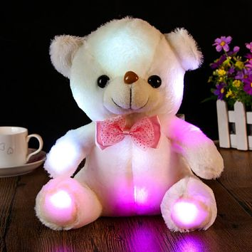 Large Cute LED Teddy Bear Panda Glowing in the Dark Stuffed Doll Toy Colorful Flashing Light Bear Hug Plush Toy Kid Gift