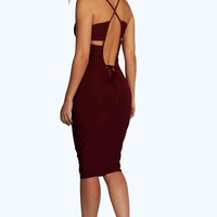 Arya Cut Out Low Back Slinky Midi Dress