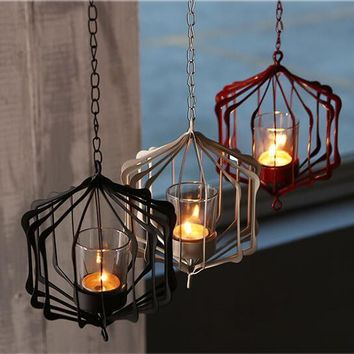 1PC White Black and Red Iron Hanging Candle Holder With 35cm Chain Coffee Store Decoration Candle Hanging Lantern Cup Candle