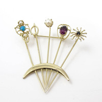 Stick Pins Brooch. Victorian Revival Stick Pins Jewelry. Horseshoe, Starburst, Flower, Crescent Moon
