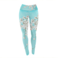 "Monika Strigel ""Hanami"" Teal White Yoga Leggings"