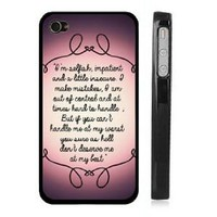 "Marilyn Monroe iPhone 4 4s Case - Lace iPhone Case - Black Snap on iPhone Cover - Quote iPhone Case Reads ""I'm selfish, impatient and a little insecure. I make mistakes, I am out of control and at times hard to handle. But if you can't handle me at my wors"