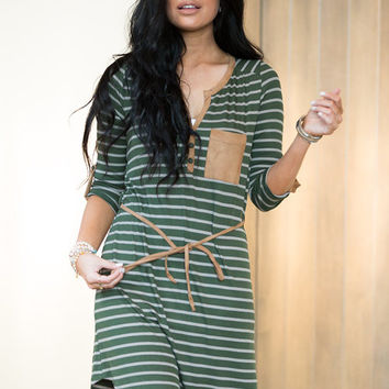 Stripes and a Some Suede Action Dress Olive