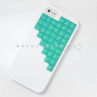 PRE ORDER - iPhone 5 Mint Teal Green Studs Studded White Hard Phone Case AT&T Verizon Sprint