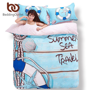 BeddingOutlet Sea Of Love Bedding Skyblue Summer Sea Travel Print Home Textiles Soft Comforter Set 4pcs Queen King