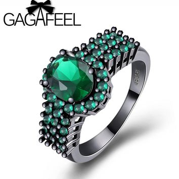 GAGAFEEL New Fashion Geometric Green Rings Black Gold Filled Engagement Jewelry Vintage Wedding Rings For Women