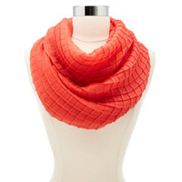 PLEATED WINDOWPANE INFINITY SCARF