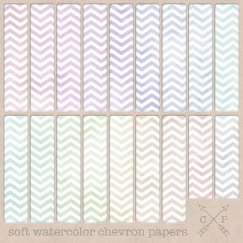 Soft Pastel Watercolor Chevron Digital Paper pack. Great for scrapbooking, graphic design, invitation paper crafting or use as a background