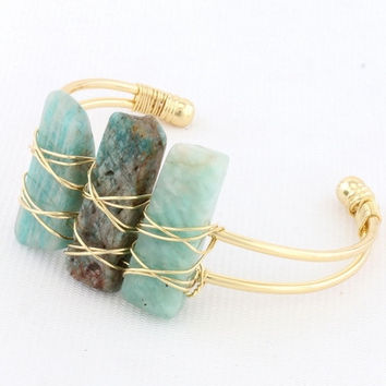 Stone Wired Cuff Bracelet - Turquoise