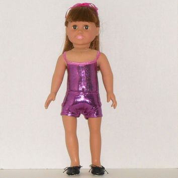 American Girl Doll Clothes Fuchsia Leotard and Dance Shorts fits 18 inch Doll