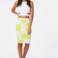 LIME MIDI SKIRT IN PALM TREE PRINT
