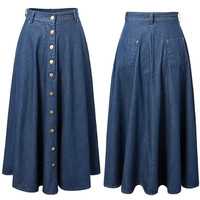 Blue Button Front Pleated Maxi Denim Skirt