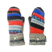 Blue and Orange Wool Mittens,  Recycled Sweater Mittens, Women's Mittens,  Wool Blue Orange Hippie Boho Sweaty Mitts