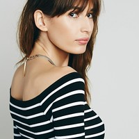 Free People Off The Shoulder Striped Seamless Top