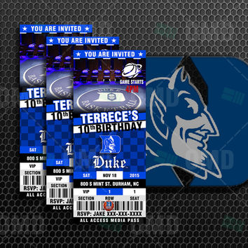 "2.5x6"" Duke Blue Devils Sports Party Invitation, Sports Tickets Invites, Basketball Birthday Theme Party Template"