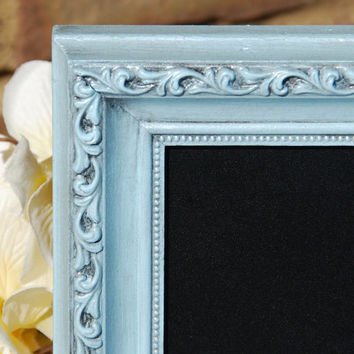 Ornate cottage chic chalkboard: Pale vintage baby blue 5x7 decorative hand-painted wooden framed message board sign