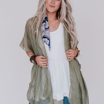 Catching The Sparkle Speckled Kimono - Sage