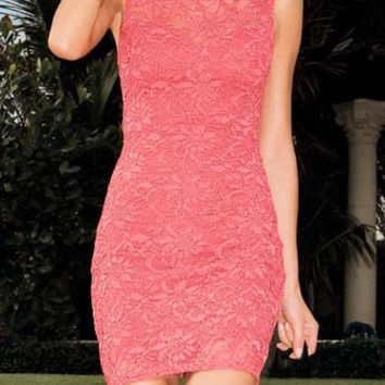 Jewel Neck Bodycon Mini Lace Dress