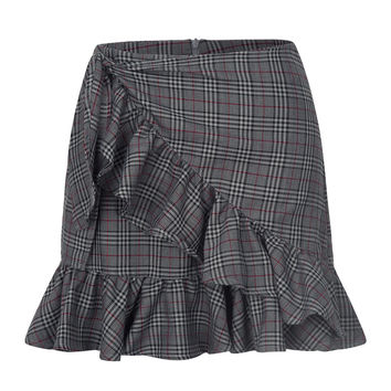 Gray Plaid Tie Waist Asymmetric Ruffle Mini Skirt