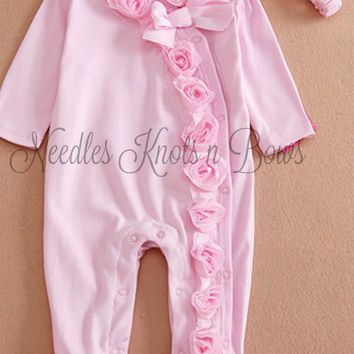 Baby Girls Pink Coming Home Outfit, Pajama's, Pink Footed Sleeper with Headband,, Infants Pajama's