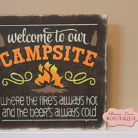12 x 12 Wood Sign, Welcome to our Campsite, Chocolate brown, Camping