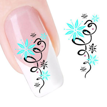 2017 New arrival Korean Nail Stickers Decals Green Star Flowers Design Nail Tip Art Water Transfers Decal Sticker Maquiagem
