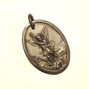 Antique Queen Mary and Archangel Michael Silver Plated Holy Medal