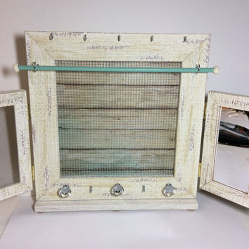 Jewelry organizer frame, deluxe jewelry organiser, rustic timber Earring display, jewelry stand, coastal decor frame
