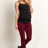Burgundy-Zip-Side-Stretch-Maternity-Pants