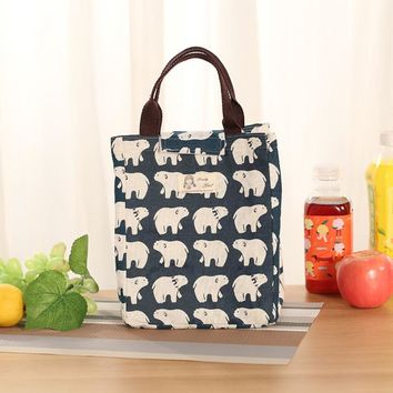 New Lunch Bags Waterproof Canvas Bags Portable Bag Women Thermal Lunchbox for Camping  for Fruits Food Picnic Bags Girl