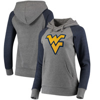 Women's Fanatics Branded Heathered Gray/Navy West Virginia Mountaineers Primary Logo Raglan Sleeve Hoodie