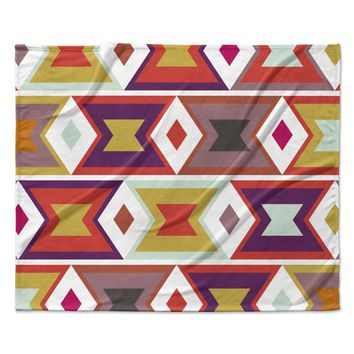 "Pellerina Design ""Aztec Weave"" Orange Purple Fleece Throw Blanket"