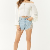 Balloon-Sleeve Open-Knit Top